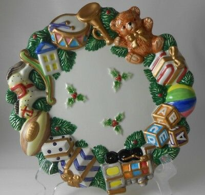 """Vintage Fitz & Floyd Holly Berry Toys & Presents Round Candy Canape Plate 8.25"""""""