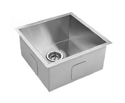 NEW 440x440mm Handmade Stainless Steel Kitchen/ Laundry Sink with Strainer Waste