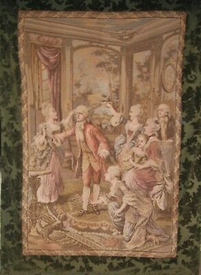 "LARGE VINTAGE FRENCH TAPESTRY WALL HANGING, 50"" X 69"", Lined & Bound, EC"