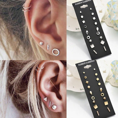 9 Pair/Set Vintage Bohemian Fashion Women Ear Stud Jewelry Gift Earrings Suit