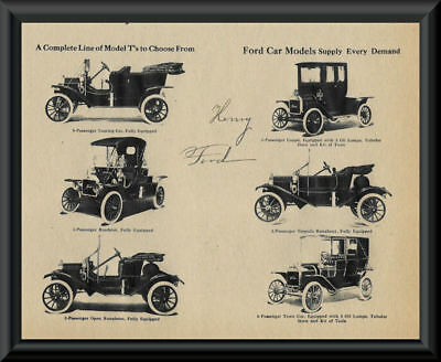 1908 Ford Model T Ad & Henry Ford Autograph Reprint On 100 Year Old Paper 097