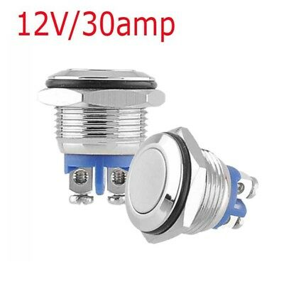 12V 30A 16mm Diámetro Impermeable Acero Inoxidable Momentáneo Interruptor IP67