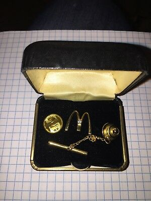 Mcdonald's Service Reward Gold Filled Diamond M Pin Pendant Vintage With Box