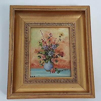 Small Framed Vintage Still Life Oil Painting Picture Floral Flowers Vase Signed