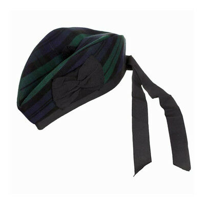 New Scottish Piper Hat 100% Pure Wool Glengarry - Black Watch - Choose Size