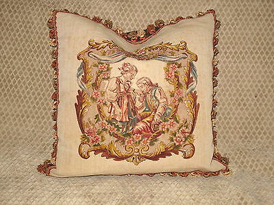 Romantic Old World 19Th C Antique Hand Painted Pillow~Figural