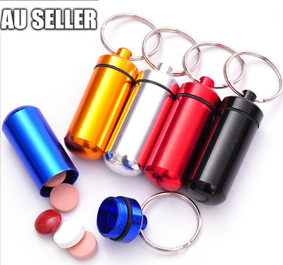 1pc Aluminum Waterproof Pill Box Case Holder Bottle Stash Container Keyring