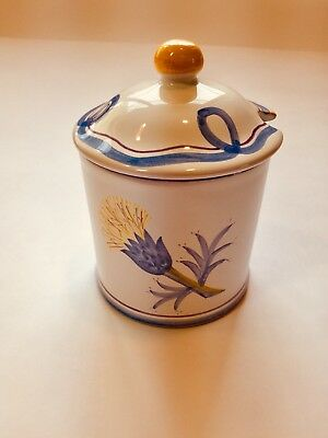 Italian Pottery Handpainted Laura Ashley Covered Jelly Jar Thistle Design