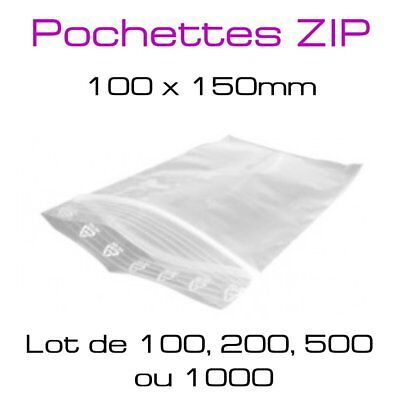pochette plastique sachet zip transparent fermeture zip lot de 100