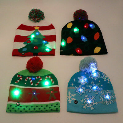 LED Christmas Tree Beanie Ugly Christmas Sweater Light Up Knitted Hat Led Cap