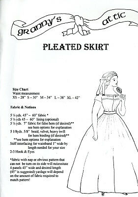 Pleated Skirt Instructions Sewing Pattern Civil War Victorian Woman Reenactor