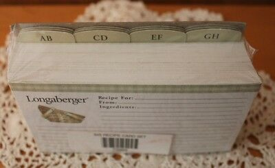 "Longaberger Baskets ~ 3"" x 5"" Recipe Cards and Divider Set ~ NEW"