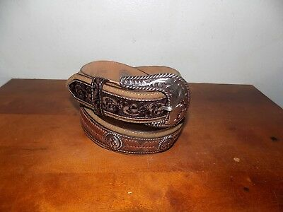 Nocona Western Womens Belt Thin Multicolor Large Concho Brown N3471897