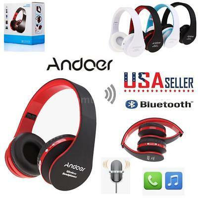 Wireless Bluetooth Headphone Over Ear Foldable Headset Stereo Mic AUX US STOCK