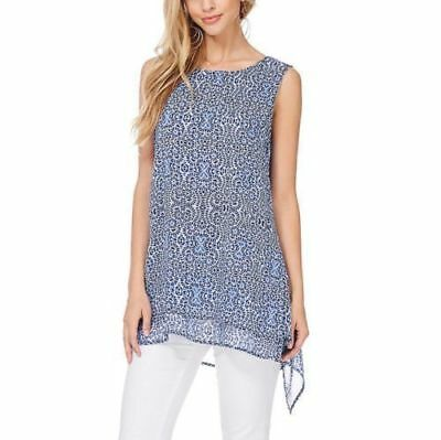 NEW Fever Ladies' Double Layer Sleeveless Lightweight Airy Blouse Blue 2X NWT