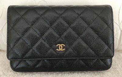 c940f403410f NEW CHANEL AUTHENTIC WOC Black caviar GHW Wallet on Chain BNWT ...
