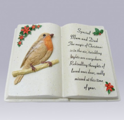 Special Mum & Dad Robin Open Book Grave Memorial Ornament Tribute Christmas Gift