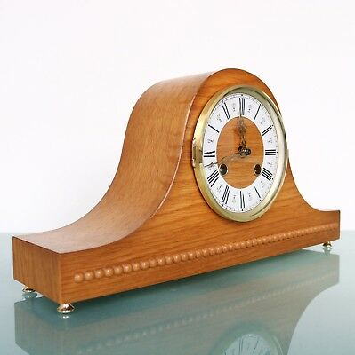 HERMLE Mantel Clock BLOND WOOD Mid Century Vintage 3 BAR CHIME Germany SERVICED!