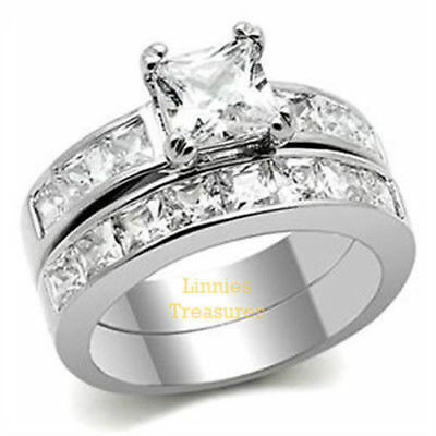 3.75 Ct Princess Cut AAA CZ Stainless Steel Wedding Ring Set Women's Size 5 -11