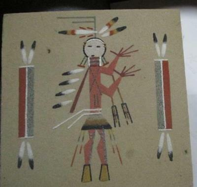 """Native American Indian Design Sand Painting Coyote People 8"""" X 8"""""""