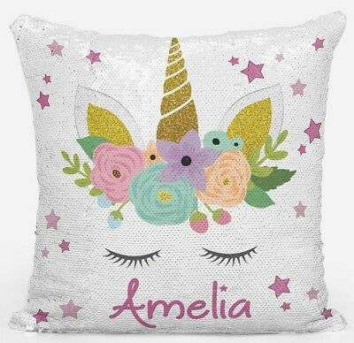 Unicorn Sequin Cushion Cover Magic Reveal Personalised  Christmas Gift