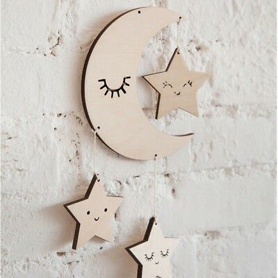 Nordic baby, nursery wooden hanging decoration. Moon with stars.