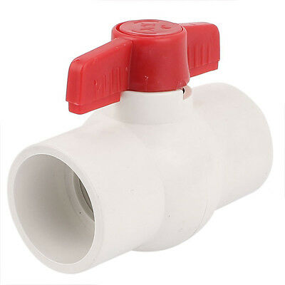 1X(50MM/2 inch Slip Ends Water Control PVC Ball Valve White Red E3Y7)