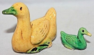 "VINTAGE PAIR of Chinese Pottery ""Mudman"" Geese Ducks, Ylw Grn, Early 20th C NICE"