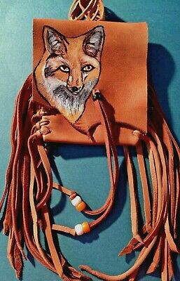 FOX Handpainted Lambskin Mecicine bag, with fringe and Pony beads.