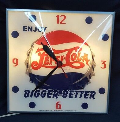 Vintage Pam Clock Co. Double Dot Peps:Cola Bigger Better Electric Wall Clock