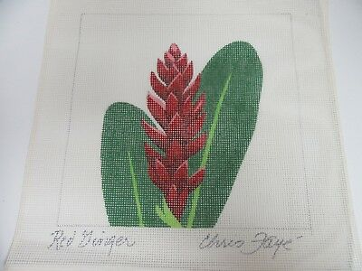 Needlepoint Canvas Signed by Chris Faye Red Ginger Flower Plant 9 Inch Tropical