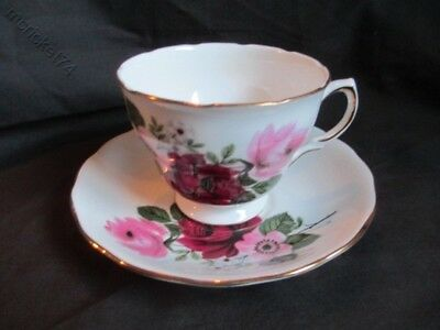 Queen Anne Bone China Anemones and Red & Pink Roses Tea Cup & Saucer England