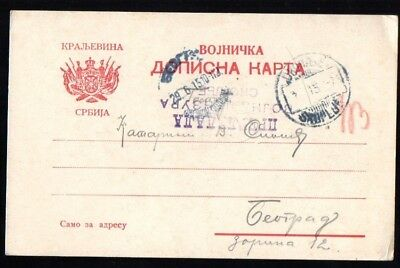 Serbia: 1915 Military postcard to Belgrade censored from Skopje
