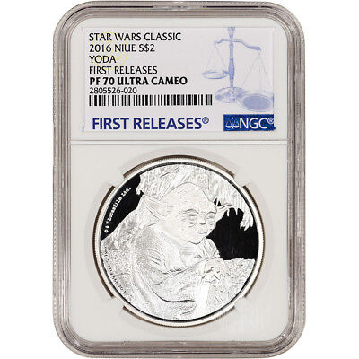 2016 Niue Silver Star Wars Classic Yoda Proof (1 oz) $2 NGC PF70 First Releases