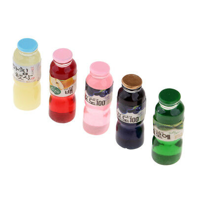 Miniature Soft Drink Juice Bottles For 1/12 Dolls House Dining Room 5 Pieces