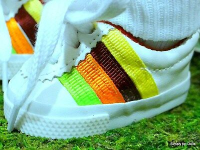 """WHITE Rainbow Vinyl DOLL SNEAKERS Tennis SHOES fits 18"""" AMERICAN GIRL DOLL"""