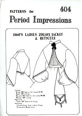 patterns CIVIL WAR ZOUAVE, RIDING, PALATOTE JACKET DAY, BALL GOWN BODICES WOMEN