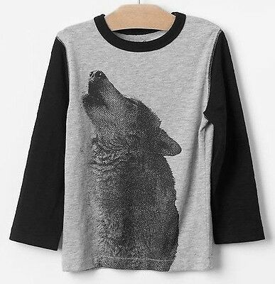 NEW GAP Baby Toddler Boys 18-24 mos Wolf Gray Cotton Long Sleeve Shirt