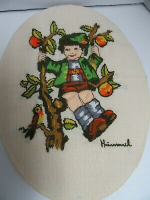 Finished Crewel Embroidery Hummel Apple Tree Boy Peasant Completed Oval