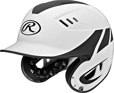 Rawlings R16H2J-W/MBK Junior Baseball R16 Home Sized Helmet, White Black