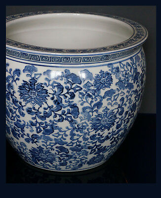 Large Chinese Blue & White Porcelain Fishbowl/Cachepot - Overall Floral Pattern.