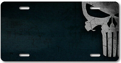 Punisher skull  license plate car truck SUV tag grey and  flat black
