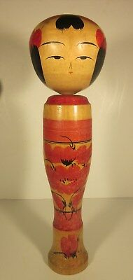 Rare Antique Japanese Kokeshi Wooden Doll Signed 16""