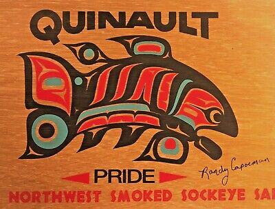 Randy Capoeman Tribal Pacific Northwest Quinault Salmon Wooden Lid First Nations