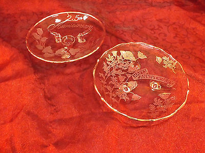 """Lot of 2 Vtg Glass Sterling Silver Overlay Three Toed Bowls """"25th Anniversary"""""""