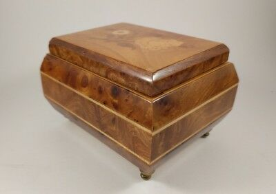 Vintage Laurel Jewelry Music Box  Inlaid Floral Burl Wood Marquetry  Japan made