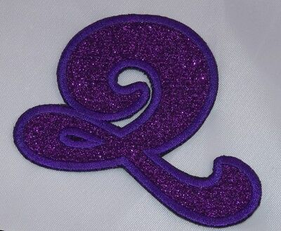 Embroidered Glitter Deep Purple Bubble Monogram Letter V Applique Patch Iron On
