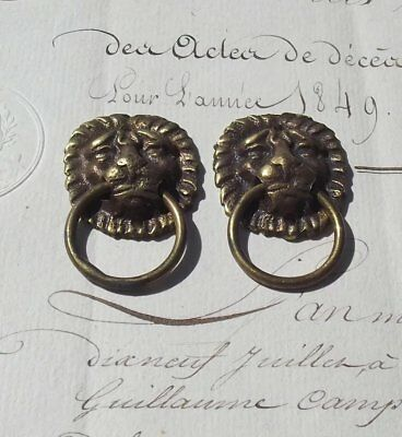Pair of Small Brass Antique French Lion head Drawer pulls Handles