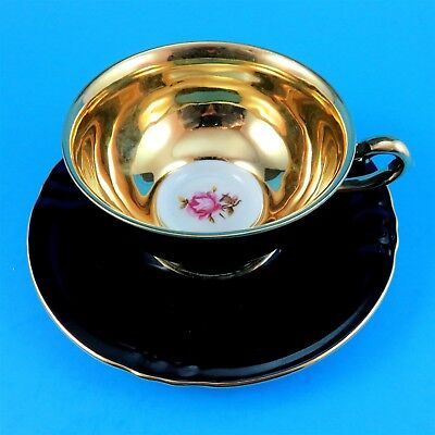 Black with Gold Interior with Pink Rose Winterling Bavaria Tea Cup and Saucer