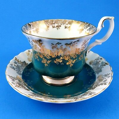 Teal Green Royal Albert Regal Series Tea Cup and Saucer Set